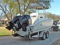Ray's Fishing Guide Service.  Lake Buchanan Texas.  Highland Lakes.  Burnet Texas.  Catch stripers from this brand new 2007 Boston Whaler with an experienced professional fishing guide.  You will have an unforgetable experience fishing with Ray for striped bass.