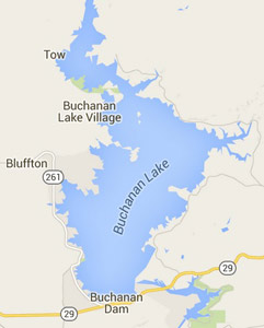 map of Lake Buchanan Texas Highland Lakes Chain